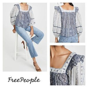 Free People Mostly Meadow top blue white Small NEW